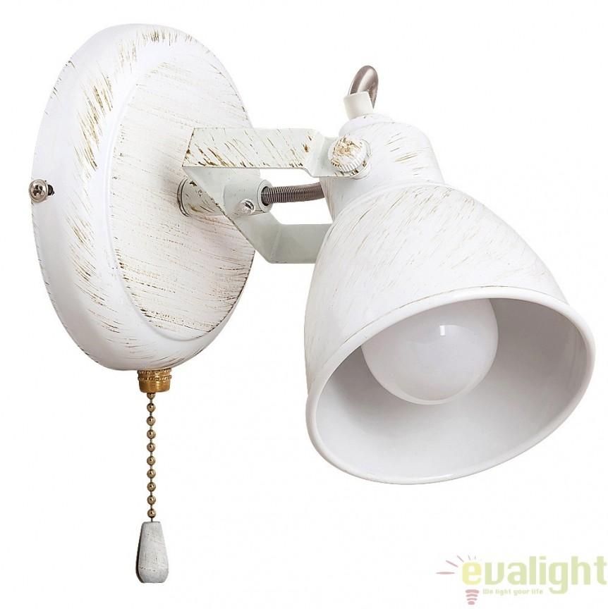 Aplica de perete design VINTAGE, finisaj alb antic, Vivienne 5966 RX, Spoturi - iluminat - cu 1 spot, Corpuri de iluminat, lustre, aplice, veioze, lampadare, plafoniere. Mobilier si decoratiuni, oglinzi, scaune, fotolii. Oferte speciale iluminat interior si exterior. Livram in toata tara.  a