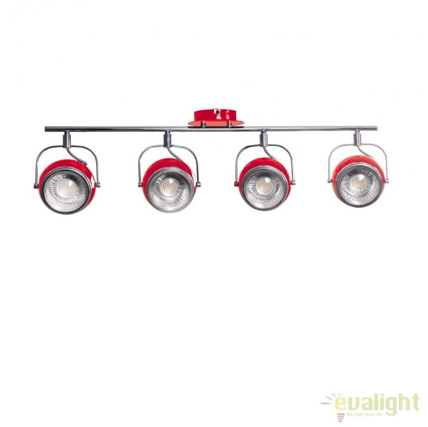 Plafoniera moderna cu 4 spoturi directionabile Retro rosie 27832 HT, Spoturi - iluminat - cu 4 spoturi, Corpuri de iluminat, lustre, aplice, veioze, lampadare, plafoniere. Mobilier si decoratiuni, oglinzi, scaune, fotolii. Oferte speciale iluminat interior si exterior. Livram in toata tara.  a
