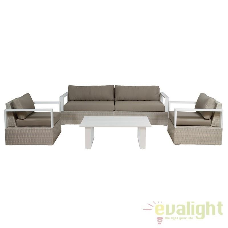 Set canapea cu fotolii si masuta, ideal pentru terase Bruno 52145 SAP, Mobilier terasa si gradina, Corpuri de iluminat, lustre, aplice, veioze, lampadare, plafoniere. Mobilier si decoratiuni, oglinzi, scaune, fotolii. Oferte speciale iluminat interior si exterior. Livram in toata tara.  a