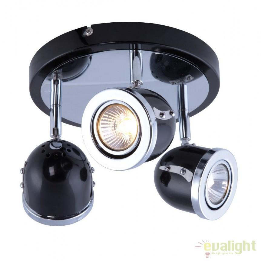 Plafoniera cu 3 spoturi directionabile BEL AIR neagra 27177 HT, Spoturi - iluminat - cu 3 spoturi, Corpuri de iluminat, lustre, aplice, veioze, lampadare, plafoniere. Mobilier si decoratiuni, oglinzi, scaune, fotolii. Oferte speciale iluminat interior si exterior. Livram in toata tara.  a