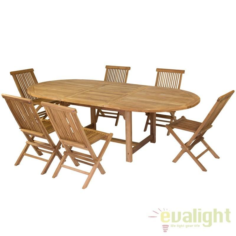 Masa extensibila din lemn de tec design modern Evalyn 32702 SAP, Mobilier terasa si gradina, Corpuri de iluminat, lustre, aplice, veioze, lampadare, plafoniere. Mobilier si decoratiuni, oglinzi, scaune, fotolii. Oferte speciale iluminat interior si exterior. Livram in toata tara.  a