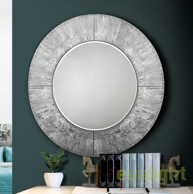 Oglinda decorativa cu dimetru 100cm AURORA argintie SV-593364, Oglinzi decorative, Corpuri de iluminat, lustre, aplice, veioze, lampadare, plafoniere. Mobilier si decoratiuni, oglinzi, scaune, fotolii. Oferte speciale iluminat interior si exterior. Livram in toata tara.  a
