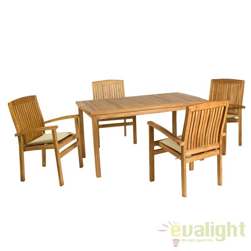 Masa cu 4 scaune din lemn de tec Evelia 31501 SAP, Mobilier terasa si gradina, Corpuri de iluminat, lustre, aplice, veioze, lampadare, plafoniere. Mobilier si decoratiuni, oglinzi, scaune, fotolii. Oferte speciale iluminat interior si exterior. Livram in toata tara.  a
