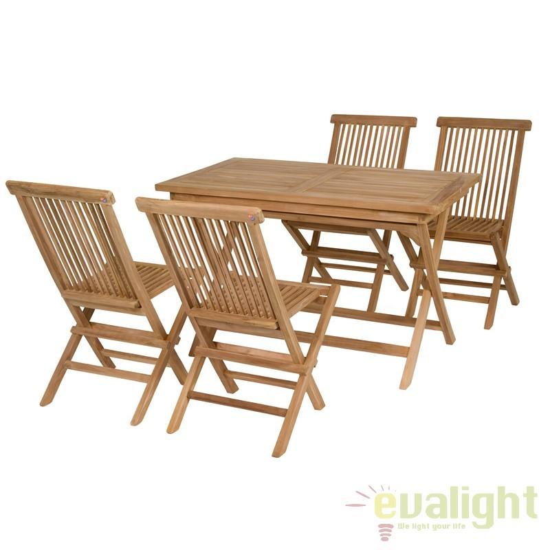 Masa cu 4 scaune din lemn de tec Evan 31503 SAP, Mobilier terasa si gradina, Corpuri de iluminat, lustre, aplice, veioze, lampadare, plafoniere. Mobilier si decoratiuni, oglinzi, scaune, fotolii. Oferte speciale iluminat interior si exterior. Livram in toata tara.  a