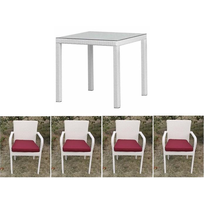Set, masa cu 4 scaune din ratan ideal pentru tesase COSTA4-BL 334.COCOS4BL SDM, Mobilier terasa si gradina, Corpuri de iluminat, lustre, aplice, veioze, lampadare, plafoniere. Mobilier si decoratiuni, oglinzi, scaune, fotolii. Oferte speciale iluminat interior si exterior. Livram in toata tara.  a