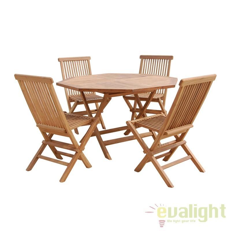 Masa cu 4 scaune design rustic din lemn de tec Geri 09923 SAP, Mobilier terasa si gradina, Corpuri de iluminat, lustre, aplice, veioze, lampadare, plafoniere. Mobilier si decoratiuni, oglinzi, scaune, fotolii. Oferte speciale iluminat interior si exterior. Livram in toata tara.  a