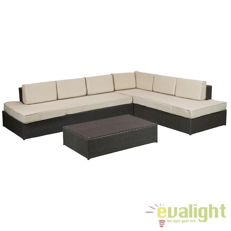 Set canapea cu masuta design elegant Ginny 51322 SAP, Mobilier terasa si gradina, Corpuri de iluminat, lustre, aplice, veioze, lampadare, plafoniere. Mobilier si decoratiuni, oglinzi, scaune, fotolii. Oferte speciale iluminat interior si exterior. Livram in toata tara.  a