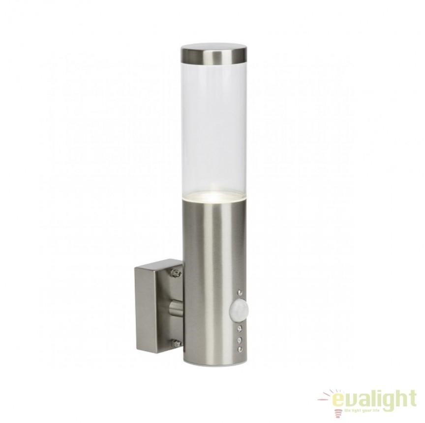 Aplica de perete LED exterior cu senzor de miscare IP44 Bergen otel G40097/82 BL, Iluminat cu senzor de miscare, Corpuri de iluminat, lustre, aplice, veioze, lampadare, plafoniere. Mobilier si decoratiuni, oglinzi, scaune, fotolii. Oferte speciale iluminat interior si exterior. Livram in toata tara.  a