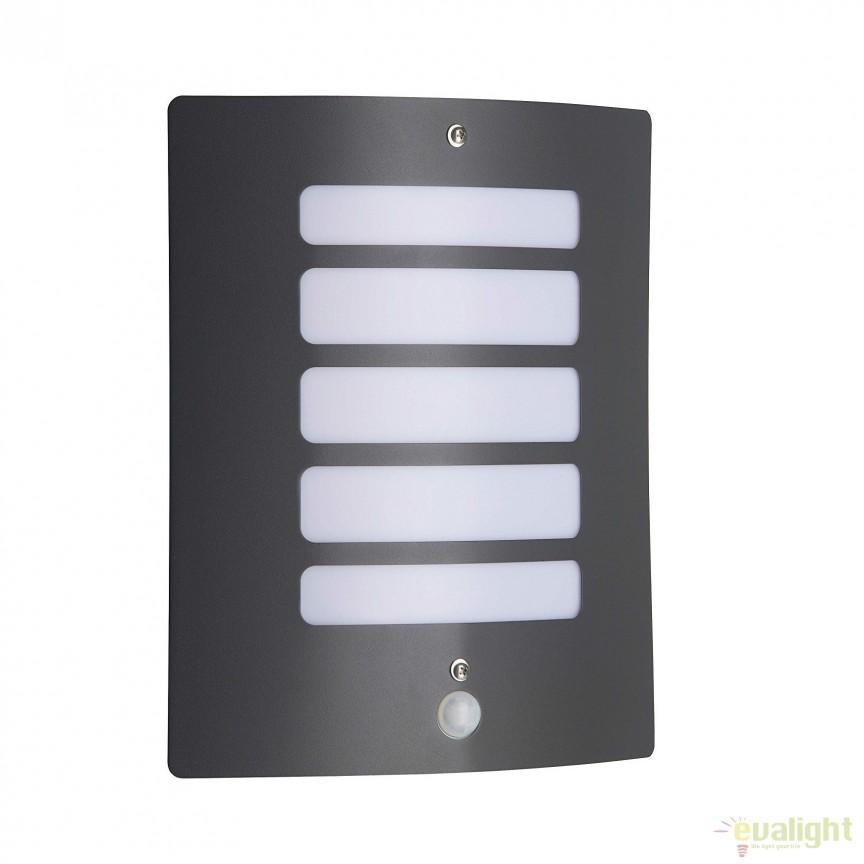 Aplica de perete iluminat exterior cu senzor IP44 Todd gri inchis 47698/63 BL, Iluminat cu senzor de miscare, Corpuri de iluminat, lustre, aplice, veioze, lampadare, plafoniere. Mobilier si decoratiuni, oglinzi, scaune, fotolii. Oferte speciale iluminat interior si exterior. Livram in toata tara.  a