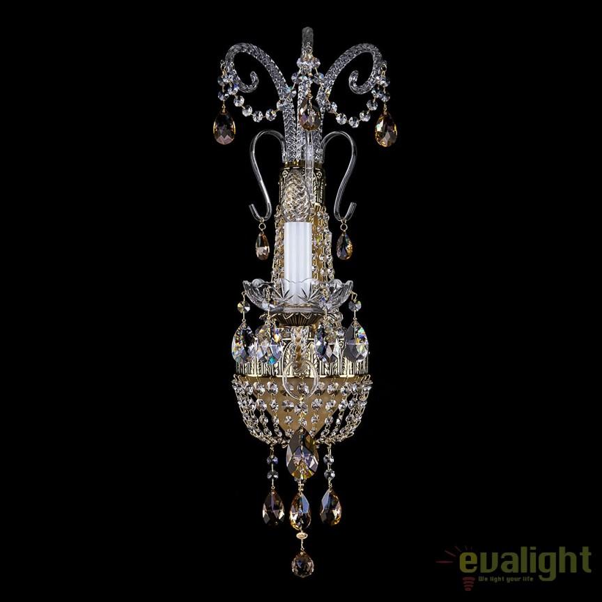 Aplica eleganta, design LUX cristal Swarovski Spectra, NADINE I. BRASS ANTIQUE SP -8003, Aplice Cristal Bohemia, Corpuri de iluminat, lustre, aplice, veioze, lampadare, plafoniere. Mobilier si decoratiuni, oglinzi, scaune, fotolii. Oferte speciale iluminat interior si exterior. Livram in toata tara.  a