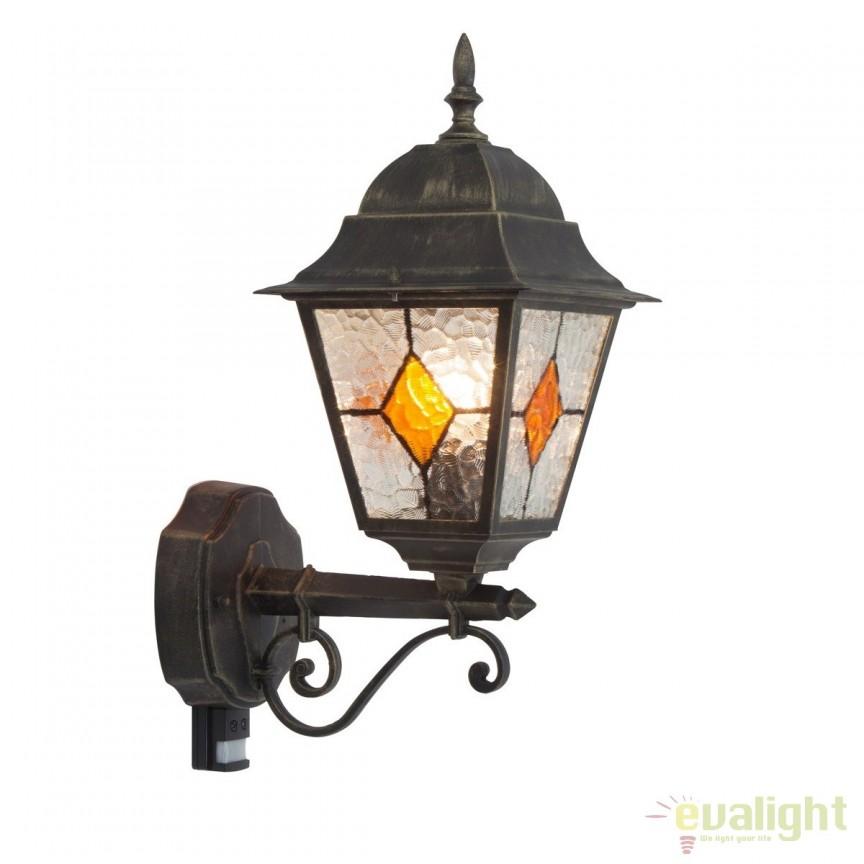 Aplica perete exterior cu senzor stil clasic IP44 Jason 43897/86 BL, Iluminat cu senzor de miscare, Corpuri de iluminat, lustre, aplice, veioze, lampadare, plafoniere. Mobilier si decoratiuni, oglinzi, scaune, fotolii. Oferte speciale iluminat interior si exterior. Livram in toata tara.  a