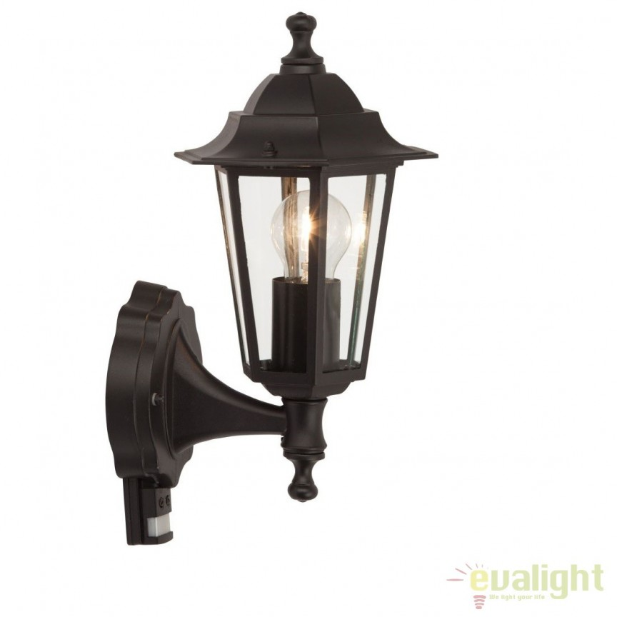 Aplica exterior cu senzor de miscare stil clasic Crown neagra 40297/06 BL, Iluminat cu senzor de miscare, Corpuri de iluminat, lustre, aplice, veioze, lampadare, plafoniere. Mobilier si decoratiuni, oglinzi, scaune, fotolii. Oferte speciale iluminat interior si exterior. Livram in toata tara.  a