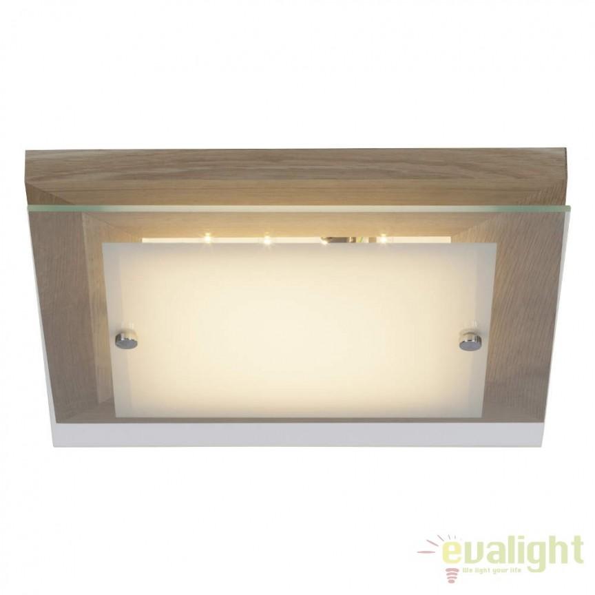 Plafoniera din lemn si sticla, LED Hardwood 29x29cm G94477/35 BL, ILUMINAT INTERIOR LED , Corpuri de iluminat, lustre, aplice, veioze, lampadare, plafoniere. Mobilier si decoratiuni, oglinzi, scaune, fotolii. Oferte speciale iluminat interior si exterior. Livram in toata tara.  a