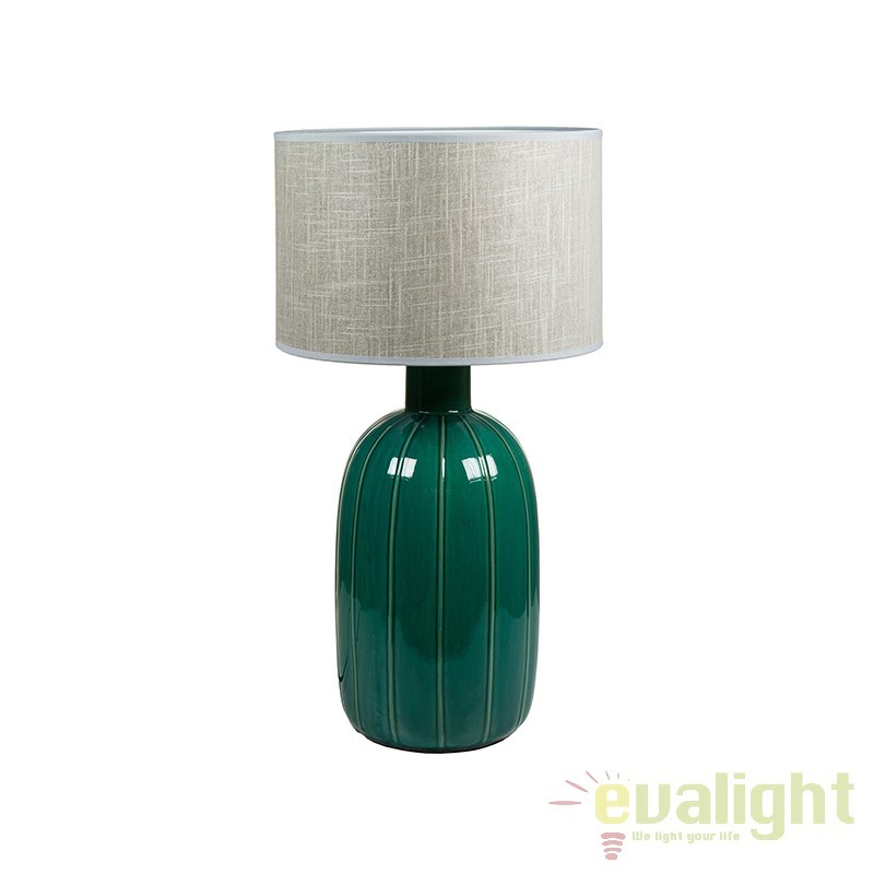 Veioza din ceramica verde design elegant Ginny 45718 SAP, CORPURI DE ILUMINAT INTERIOR MODERN, Corpuri de iluminat, lustre, aplice, veioze, lampadare, plafoniere. Mobilier si decoratiuni, oglinzi, scaune, fotolii. Oferte speciale iluminat interior si exterior. Livram in toata tara.  a