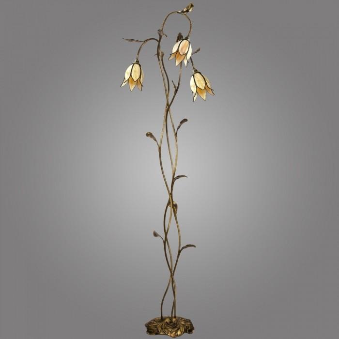 Lampadar cu 3 brate din alama, abajur design floral, Karkara K/LSA/W KM, Cele mai noi produse 2017 a