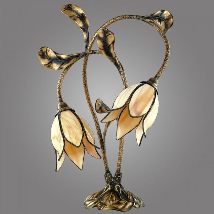 Lampa de masa cu 2 brate din alama, abajur design floral, Karkara K/B/W KM, Cele mai noi produse 2017 a