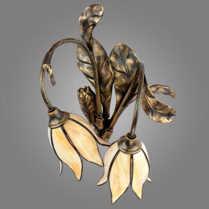 Aplica cu 2 brate din alama, abajur design floral, Karkara K/K/2/W KM, Cele mai noi produse 2017 a