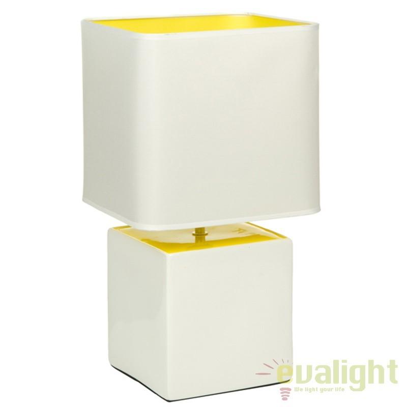 Lampa de masa din ceramica alb/ galben Fleta 43882 SAP, Veioze, Lampi de masa, Corpuri de iluminat, lustre, aplice, veioze, lampadare, plafoniere. Mobilier si decoratiuni, oglinzi, scaune, fotolii. Oferte speciale iluminat interior si exterior. Livram in toata tara.  a