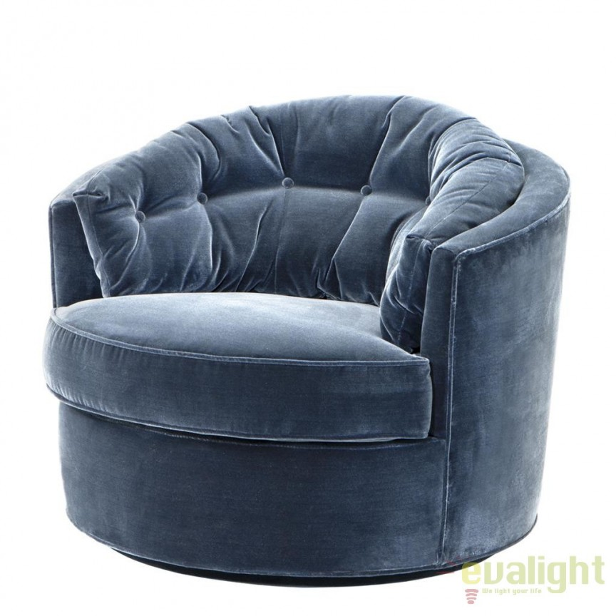 Fotoliu pivotant design LUX, elegant si confortabil, Recla albastru 110307 HZ, Fotolii - Fotolii extensibile, Corpuri de iluminat, lustre, aplice, veioze, lampadare, plafoniere. Mobilier si decoratiuni, oglinzi, scaune, fotolii. Oferte speciale iluminat interior si exterior. Livram in toata tara.  a