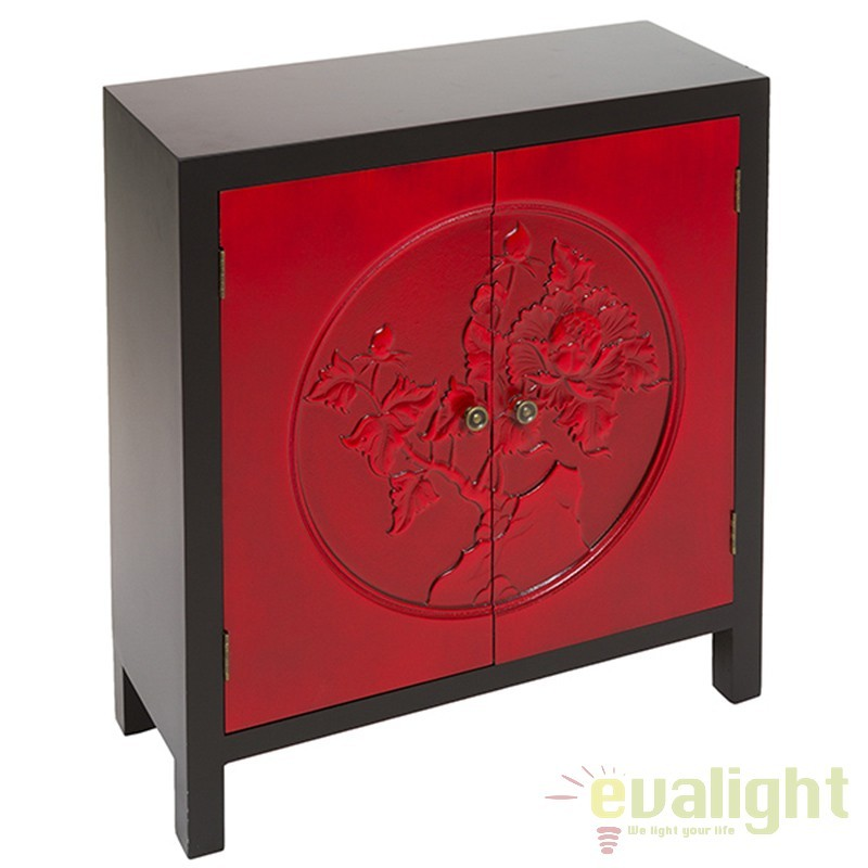 Consola 2 usi rosie design rustic Ming 52042 SAP, Console - Birouri, Corpuri de iluminat, lustre, aplice, veioze, lampadare, plafoniere. Mobilier si decoratiuni, oglinzi, scaune, fotolii. Oferte speciale iluminat interior si exterior. Livram in toata tara.  a