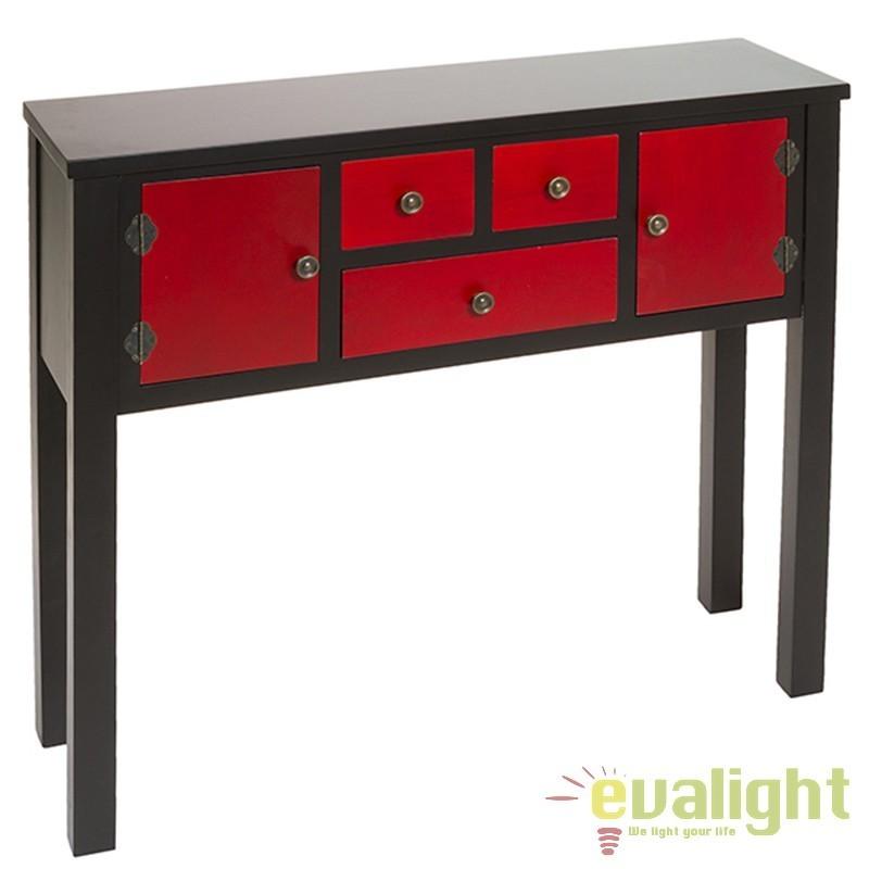 Consola cu 3 sertare si 2 usi rosie design rustic Ming 52047 SAP, Console - Birouri, Corpuri de iluminat, lustre, aplice, veioze, lampadare, plafoniere. Mobilier si decoratiuni, oglinzi, scaune, fotolii. Oferte speciale iluminat interior si exterior. Livram in toata tara.  a