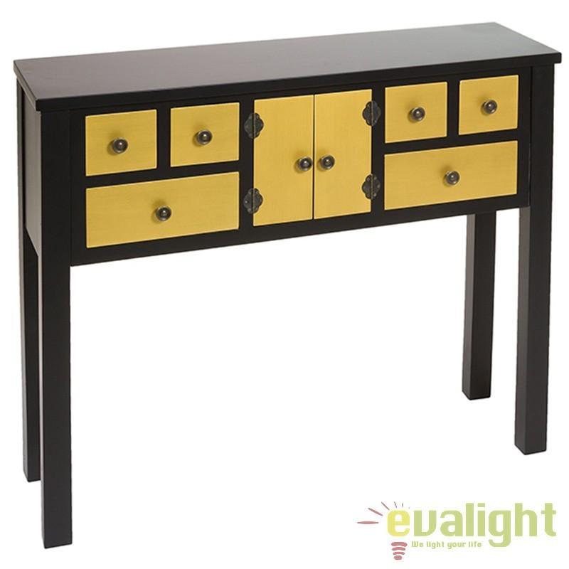 Consola cu 6 sertare aurie design rustic Ming 52049 SAP, Console - Birouri, Corpuri de iluminat, lustre, aplice, veioze, lampadare, plafoniere. Mobilier si decoratiuni, oglinzi, scaune, fotolii. Oferte speciale iluminat interior si exterior. Livram in toata tara.  a