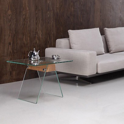 Masuta design modern din sticla si lemn, ALHAMBRA 60x60cm 196.MBALH60 SDM, Outlet,  a