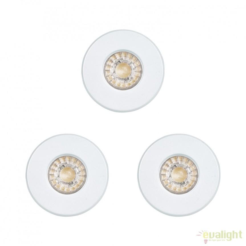 Set 3 Spoturi LED incastrabile pentru baie IP44 IGOA alb 94977 EL, Plafoniere cu protectie pentru baie, Corpuri de iluminat, lustre, aplice, veioze, lampadare, plafoniere. Mobilier si decoratiuni, oglinzi, scaune, fotolii. Oferte speciale iluminat interior si exterior. Livram in toata tara.  a