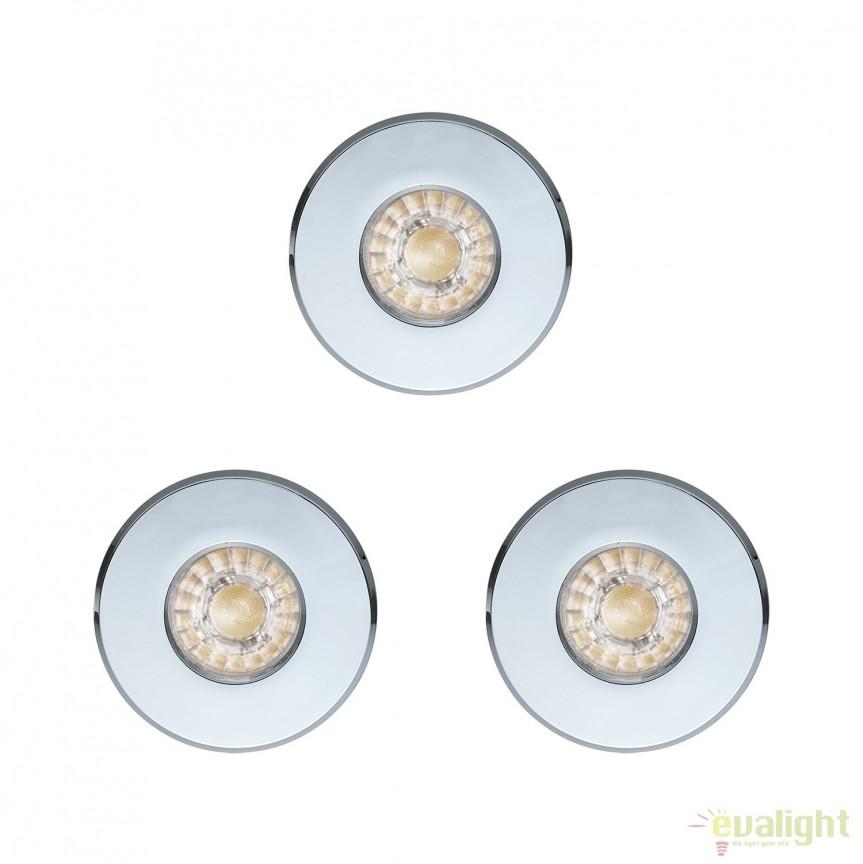 Set 3 Spoturi LED incastrabile pentru baie IP44 IGOA crom 94978 EL, Plafoniere cu protectie pentru baie, Corpuri de iluminat, lustre, aplice, veioze, lampadare, plafoniere. Mobilier si decoratiuni, oglinzi, scaune, fotolii. Oferte speciale iluminat interior si exterior. Livram in toata tara.  a
