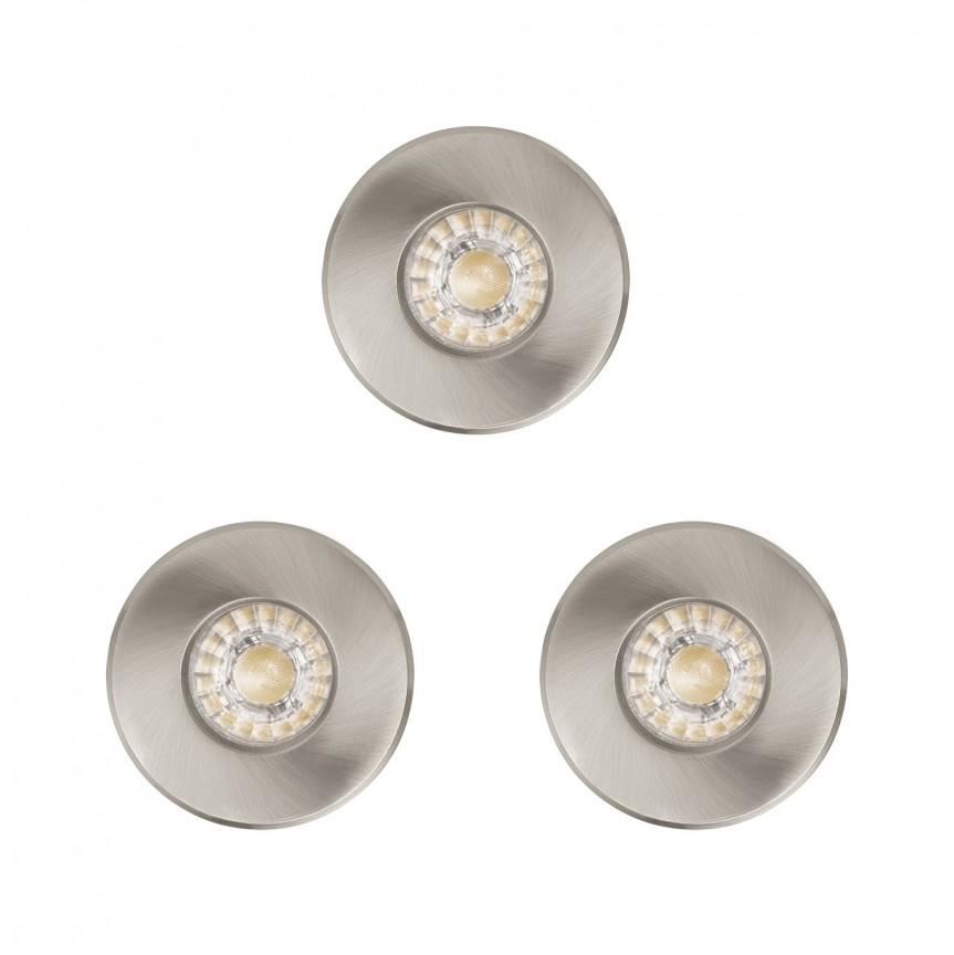 Set 3 Spoturi LED incastrabile pentru baie IP44 IGOA nickel 94979 EL, Plafoniere cu protectie pentru baie, Corpuri de iluminat, lustre, aplice, veioze, lampadare, plafoniere. Mobilier si decoratiuni, oglinzi, scaune, fotolii. Oferte speciale iluminat interior si exterior. Livram in toata tara.  a