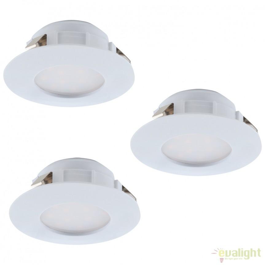 Set de 3 Spoturi LED incastrabile PINEDA alb 95807 EL, Spoturi LED incastrate, aplicate, Corpuri de iluminat, lustre, aplice, veioze, lampadare, plafoniere. Mobilier si decoratiuni, oglinzi, scaune, fotolii. Oferte speciale iluminat interior si exterior. Livram in toata tara.  a