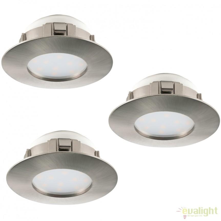 Set de 3 Spoturi LED incastrabile PINEDA nickel 95809 EL, Spoturi LED incastrate, aplicate, Corpuri de iluminat, lustre, aplice, veioze, lampadare, plafoniere. Mobilier si decoratiuni, oglinzi, scaune, fotolii. Oferte speciale iluminat interior si exterior. Livram in toata tara.  a