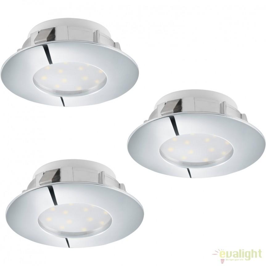 Set de 3 Spoturi LED incastrabile PINEDA crom 95808 EL, Spoturi LED incastrate, aplicate, Corpuri de iluminat, lustre, aplice, veioze, lampadare, plafoniere. Mobilier si decoratiuni, oglinzi, scaune, fotolii. Oferte speciale iluminat interior si exterior. Livram in toata tara.  a