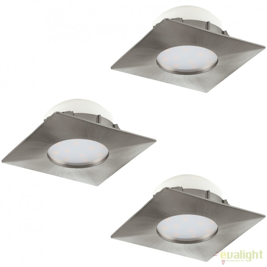 Set de 3 Spoturi LED incastrabile PINEDA nickel 95803 EL, Spoturi LED incastrate, aplicate, Corpuri de iluminat, lustre, aplice, veioze, lampadare, plafoniere. Mobilier si decoratiuni, oglinzi, scaune, fotolii. Oferte speciale iluminat interior si exterior. Livram in toata tara.  a
