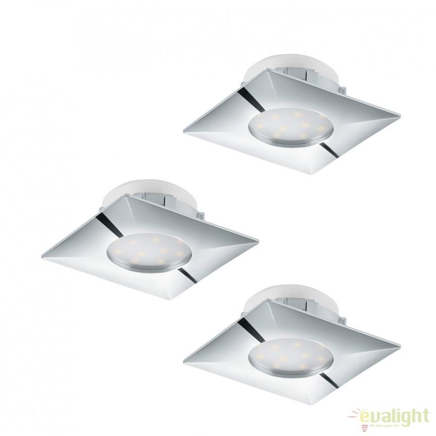 Set de 3 Spoturi LED incastrabile PINEDA crom 95802 EL, Spoturi LED incastrate, aplicate, Corpuri de iluminat, lustre, aplice, veioze, lampadare, plafoniere. Mobilier si decoratiuni, oglinzi, scaune, fotolii. Oferte speciale iluminat interior si exterior. Livram in toata tara.  a