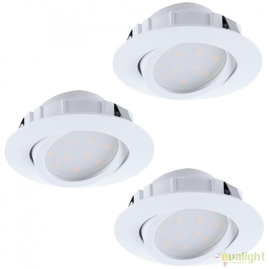 Set de 3 Spoturi LED incastrabile directionabile PINEDA alb 95851 EL, Spoturi LED incastrate, aplicate, Corpuri de iluminat, lustre, aplice, veioze, lampadare, plafoniere. Mobilier si decoratiuni, oglinzi, scaune, fotolii. Oferte speciale iluminat interior si exterior. Livram in toata tara.  a
