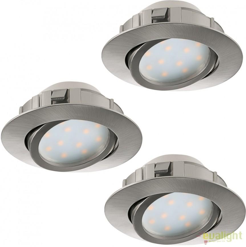 Set de 3 Spoturi LED incastrabile directionabile PINEDA nickel 95853 EL, Spoturi LED incastrate, aplicate, Corpuri de iluminat, lustre, aplice, veioze, lampadare, plafoniere. Mobilier si decoratiuni, oglinzi, scaune, fotolii. Oferte speciale iluminat interior si exterior. Livram in toata tara.  a