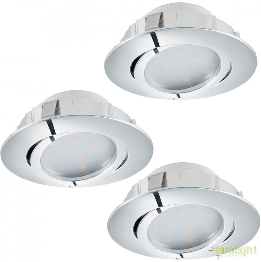 Set de 3 Spoturi LED incastrabile directionabile PINEDA crom 95852 EL, Spoturi LED incastrate, aplicate, Corpuri de iluminat, lustre, aplice, veioze, lampadare, plafoniere. Mobilier si decoratiuni, oglinzi, scaune, fotolii. Oferte speciale iluminat interior si exterior. Livram in toata tara.  a