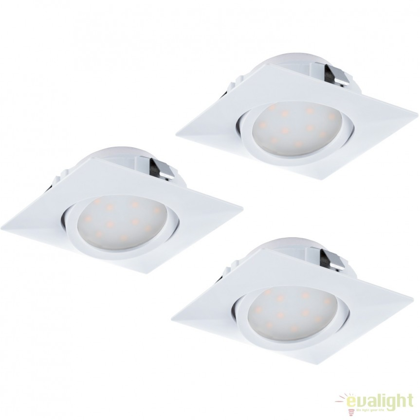 Set de 3 Spoturi LED incastrabile directionabile PINEDA alb 95844 EL, Spoturi LED incastrate, aplicate, Corpuri de iluminat, lustre, aplice, veioze, lampadare, plafoniere. Mobilier si decoratiuni, oglinzi, scaune, fotolii. Oferte speciale iluminat interior si exterior. Livram in toata tara.  a