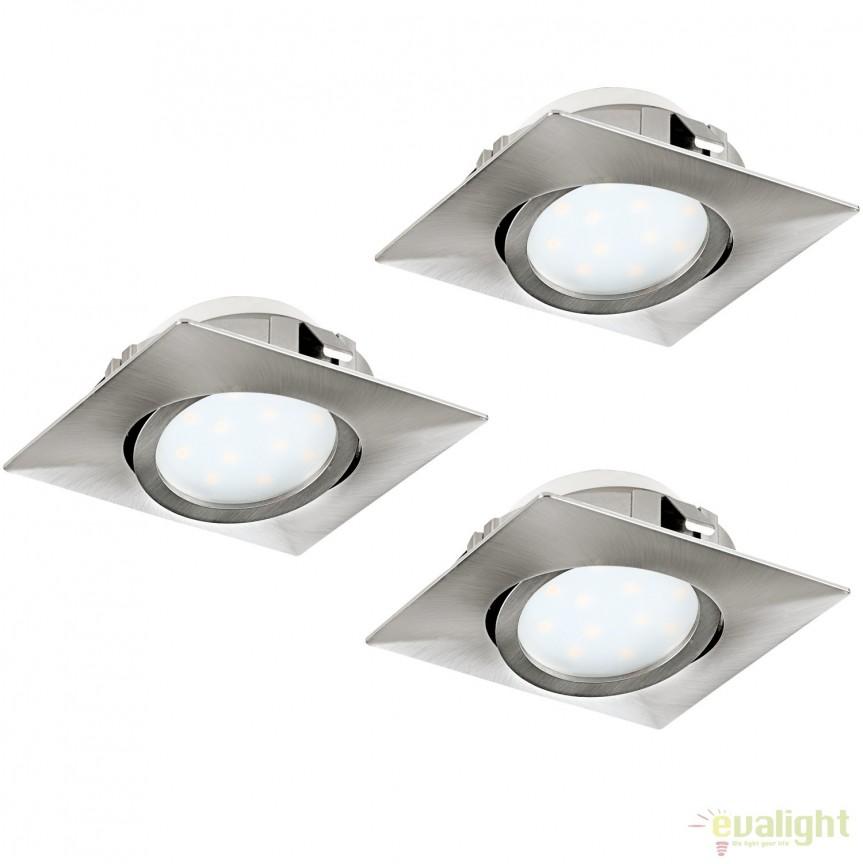 Set de 3 Spoturi LED incastrabile directionabile PINEDA nickel 95846 EL, Spoturi LED incastrate, aplicate, Corpuri de iluminat, lustre, aplice, veioze, lampadare, plafoniere. Mobilier si decoratiuni, oglinzi, scaune, fotolii. Oferte speciale iluminat interior si exterior. Livram in toata tara.  a