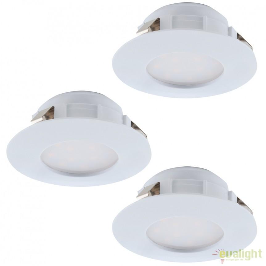 Set 3 Spoturi LED dimabile incastrabile PINEDA alb 95814 EL, Spoturi LED incastrate, aplicate, Corpuri de iluminat, lustre, aplice, veioze, lampadare, plafoniere. Mobilier si decoratiuni, oglinzi, scaune, fotolii. Oferte speciale iluminat interior si exterior. Livram in toata tara.  a