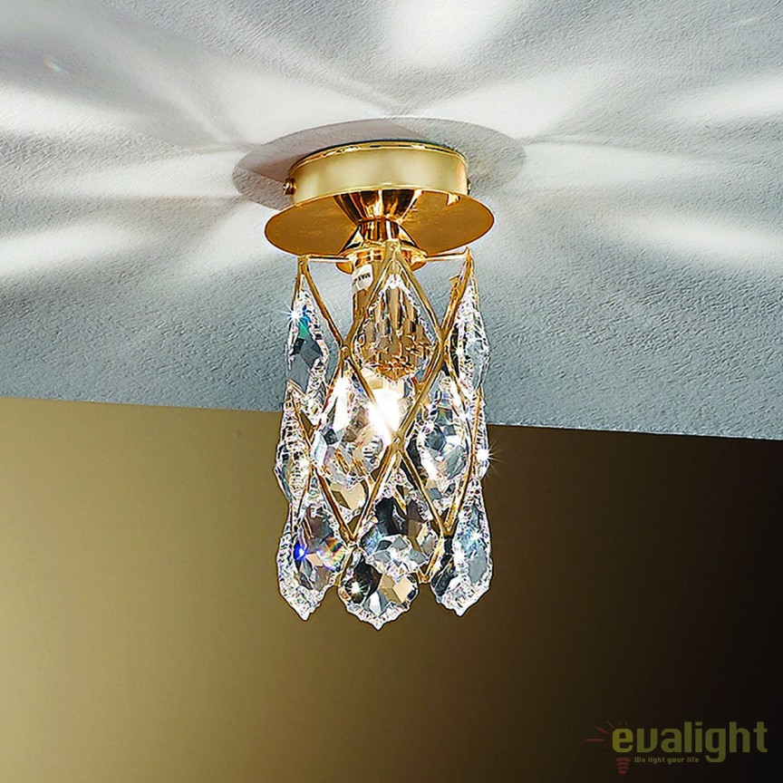 Plafoniera eleganta cristal Asfour Rita DL 7-555/1 gold OR, Spoturi tavan fals Cristal, Corpuri de iluminat, lustre, aplice, veioze, lampadare, plafoniere. Mobilier si decoratiuni, oglinzi, scaune, fotolii. Oferte speciale iluminat interior si exterior. Livram in toata tara.  a
