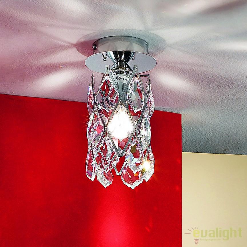 Plafoniera eleganta cristal Asfour Rita DL 7-555/1 chrom OR, Spoturi tavan fals Cristal,  a