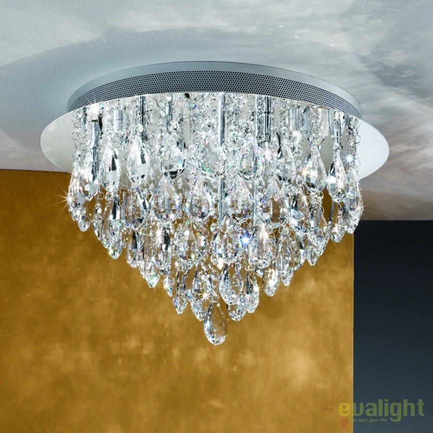 Plafoniera eleganta cristal K9 diam. 45cm Celeste DLU 2401/45 chrom OR, Plafoniere moderne, Corpuri de iluminat, lustre, aplice, veioze, lampadare, plafoniere. Mobilier si decoratiuni, oglinzi, scaune, fotolii. Oferte speciale iluminat interior si exterior. Livram in toata tara.  a