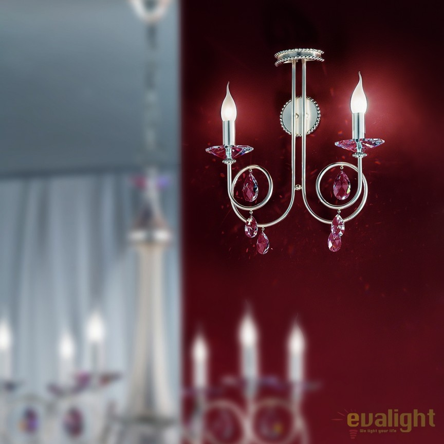 Aplica perete stil clasic cu cristale Swarovski Giada WA 2-1136/2 silber-matt OR, Aplice Cristal Swarovski, Corpuri de iluminat, lustre, aplice, veioze, lampadare, plafoniere. Mobilier si decoratiuni, oglinzi, scaune, fotolii. Oferte speciale iluminat interior si exterior. Livram in toata tara.  a