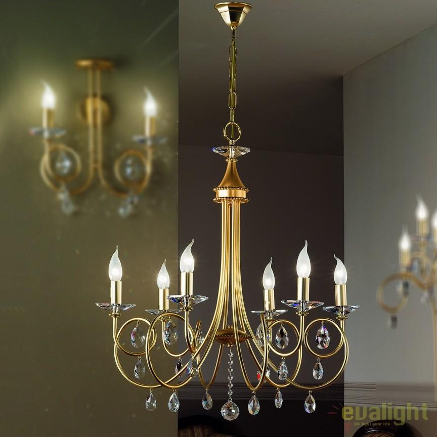 Candelabru stil clasic cu cristale Swarovski Giada LU 1670/6 gold-matt OR, Lustre Cristal Swarovski , Corpuri de iluminat, lustre, aplice, veioze, lampadare, plafoniere. Mobilier si decoratiuni, oglinzi, scaune, fotolii. Oferte speciale iluminat interior si exterior. Livram in toata tara.  a