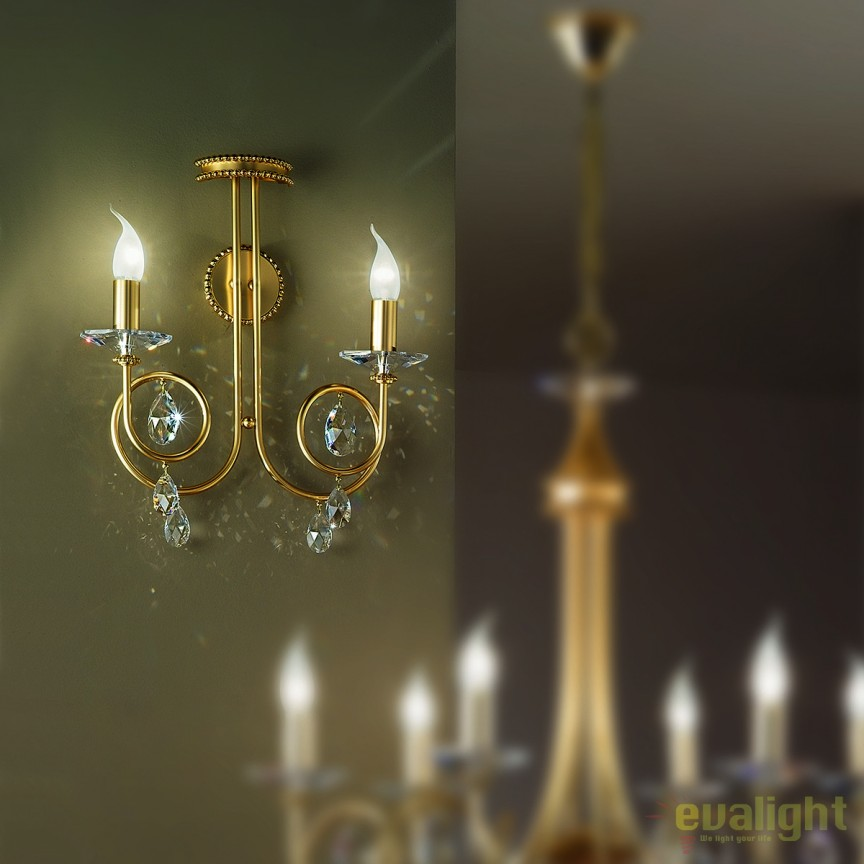 Aplica perete stil clasic cu cristale Swarovski Giada WA 2-1136/2 gold-matt OR, Aplice Cristal Swarovski, Corpuri de iluminat, lustre, aplice, veioze, lampadare, plafoniere. Mobilier si decoratiuni, oglinzi, scaune, fotolii. Oferte speciale iluminat interior si exterior. Livram in toata tara.  a