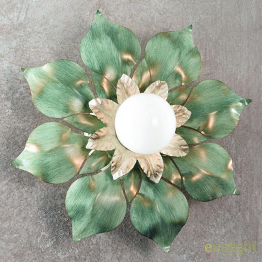 Plafoniera design rustic Flower DL 7-577/1 Antik/grun OR, Plafoniere, Spots, Corpuri de iluminat, lustre, aplice, veioze, lampadare, plafoniere. Mobilier si decoratiuni, oglinzi, scaune, fotolii. Oferte speciale iluminat interior si exterior. Livram in toata tara.  a