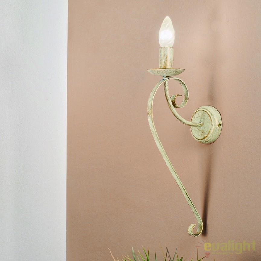Aplica perete design rustic Torcia WA 2-1220/1 Elfenbein/gold OR, Aplice de perete, Corpuri de iluminat, lustre, aplice, veioze, lampadare, plafoniere. Mobilier si decoratiuni, oglinzi, scaune, fotolii. Oferte speciale iluminat interior si exterior. Livram in toata tara.  a