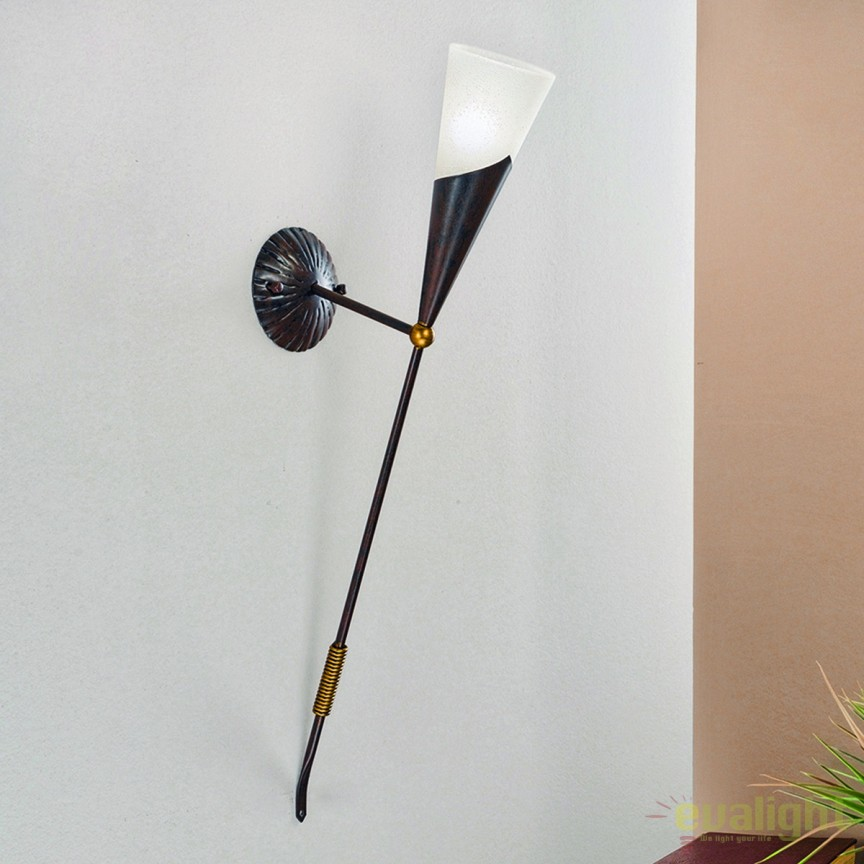 Aplica perete design rustic Torcha WA 2-1221/1 Antik/gold OR, Aplice de perete, Corpuri de iluminat, lustre, aplice, veioze, lampadare, plafoniere. Mobilier si decoratiuni, oglinzi, scaune, fotolii. Oferte speciale iluminat interior si exterior. Livram in toata tara.  a